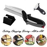 Ciseaux de cuisine cutter 2-in-1 coupe-légumes et un couteau de cuisine avec planche à découper intégrée, complément alimentaire pour bébé, ciseaux (Noir-2)