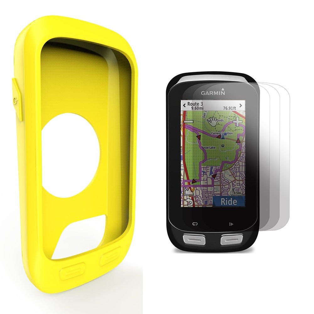 TUSITA Garmin Edge 1000 Approach G8 Housse en Silicone + Protecteur Film, Kit de Protection de Remplacement Accessoires pour Garmin Edge 1000 GPS Bike Computer