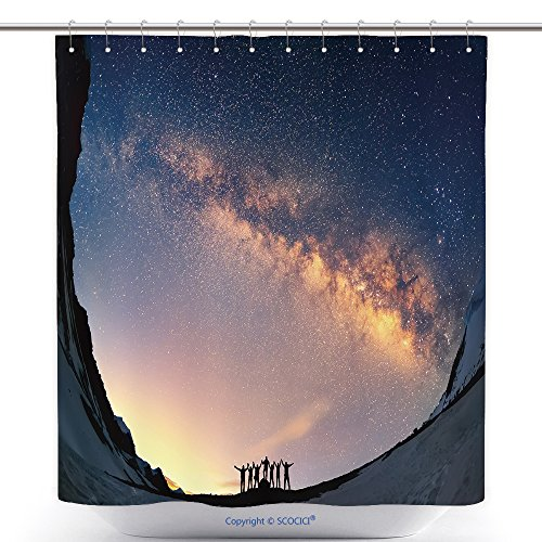 Unique Group Costume Ideas For Work - Unique Shower Curtains Teamwork And Support. A Group Of People Are Standing Together Holding Hands Against The Milky Way In The Mountains_44421660 Polyester Bathroom Shower Curtain Set With Hooks