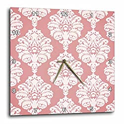 3dRose DPP_65770_1 Pretty Pink Large Damask Pattern-Wall Clock, 10 by 10-Inch