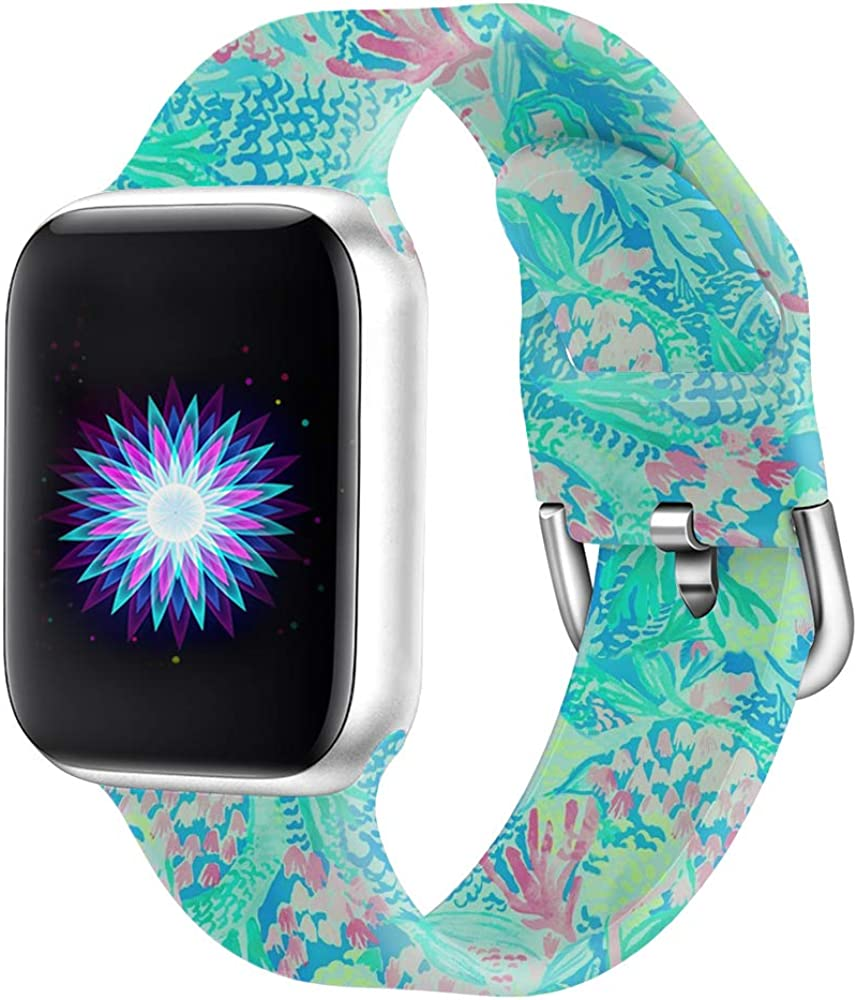 Idealiveny Silicone Band Compatible with Apple Watch Band 38mm 40mm 42mm 44mm Women Sports Strap Rubber Replacement for Iwatch Band Series 5 4 3 2 1 Double Side Print
