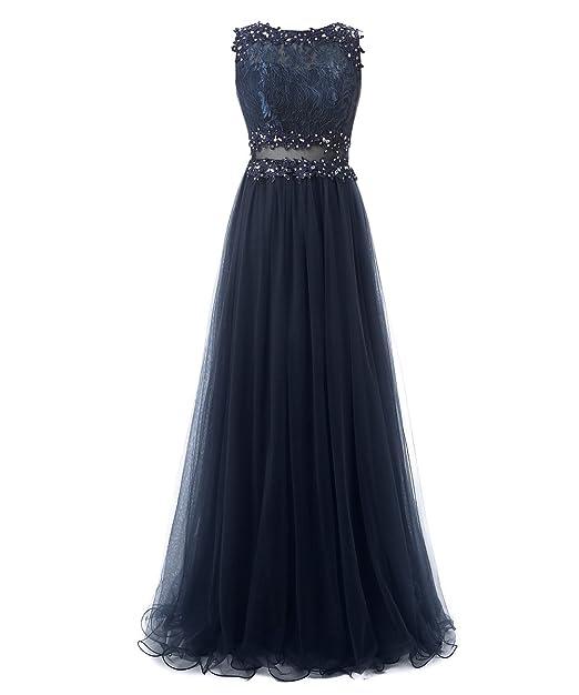 Callmelady Tul Aplicado Vestidos de Fiesta Vestidos de Noche Largos para Mujer (Azul Marino,