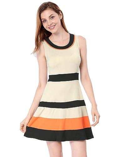 Allegra K Women's Contrast Color Sleeveless Round Neck A Line Dress