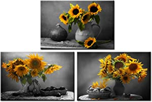 Nachic Wall - Canvas Wall Art for Living Room Black and White Yellow Sunflower in Vase Pictures Wall Decor 3 Piece Flower Still Life Painting Giclee Canvas Prints with inner Frame Ready to Hang