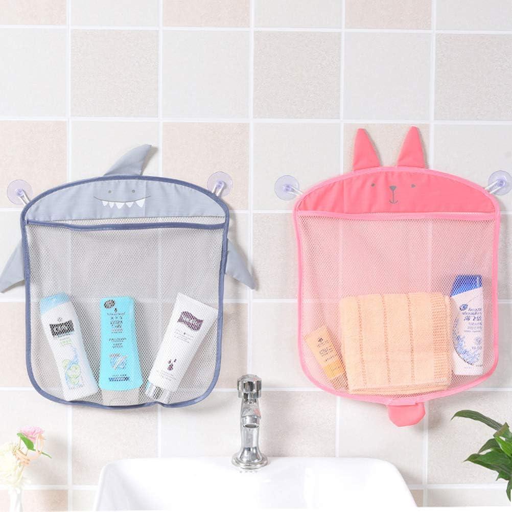 Sacs de rangement suspendus pour la salle de bain de la cuisine, sac de maille de filet de bande dessinée Jouets de bain de bébé Conteneur d'organisateur de shampooing Pink