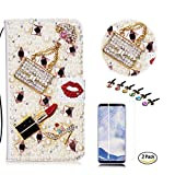 STENES LG V35 ThinQ Case - Stylish - 3D Handmade Bling Girls Bags Lipstick High Heel Wallet Credit Card Slots Fold Media Stand Leather Cover Screen Protector LG V35 ThinQ - Red