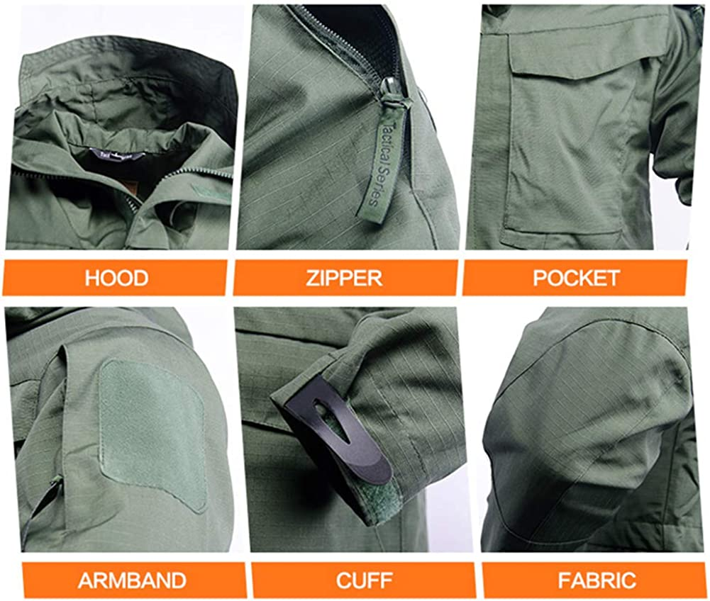 Army Coat Men Windproof Waterproof Tactical Windbreaker Jacket with Hood
