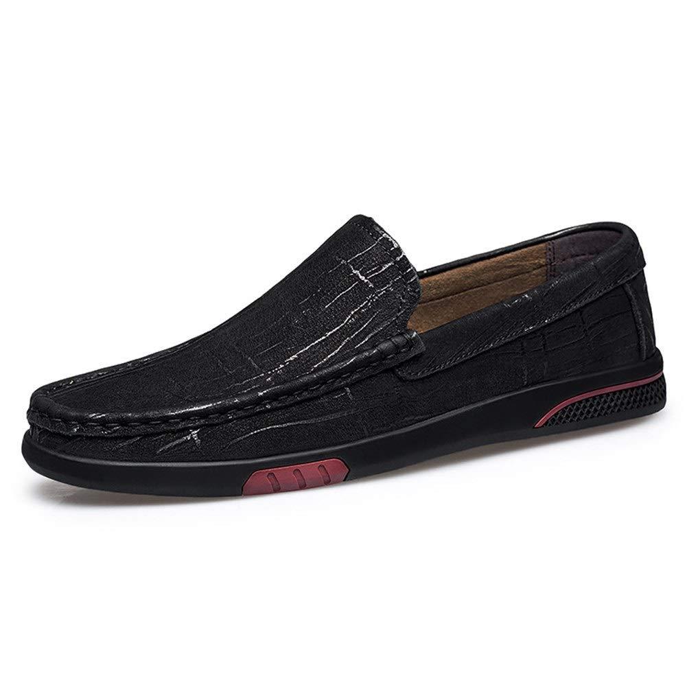 Schwarz QISTAR-MAN Herren Stiefel-Mokassins Schlupfschuhe OX Leder Schlichte Farbe Farbe feine Textur einfarbig  gesund