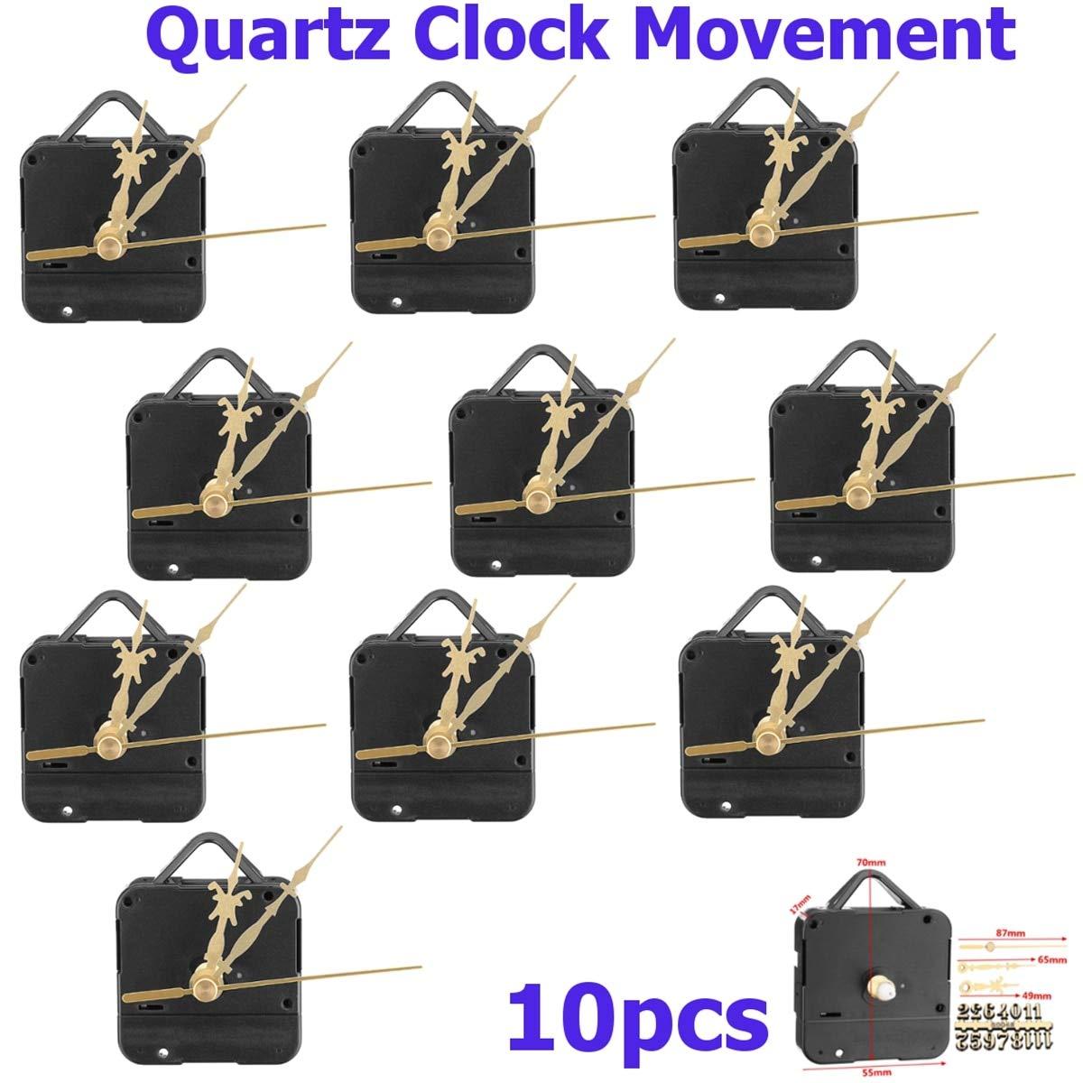 10 pcs Quartz for Tide Clock Movement Gold Quartz Movement Mechanism Silent Clock Motor Kit with Gold Digital Card Hand