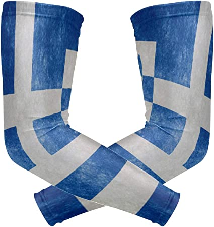 HEY BOX Greece Flag Arm Compression Sleeves Sport Arm Sleeve for Men Women Youth 2 Pieces