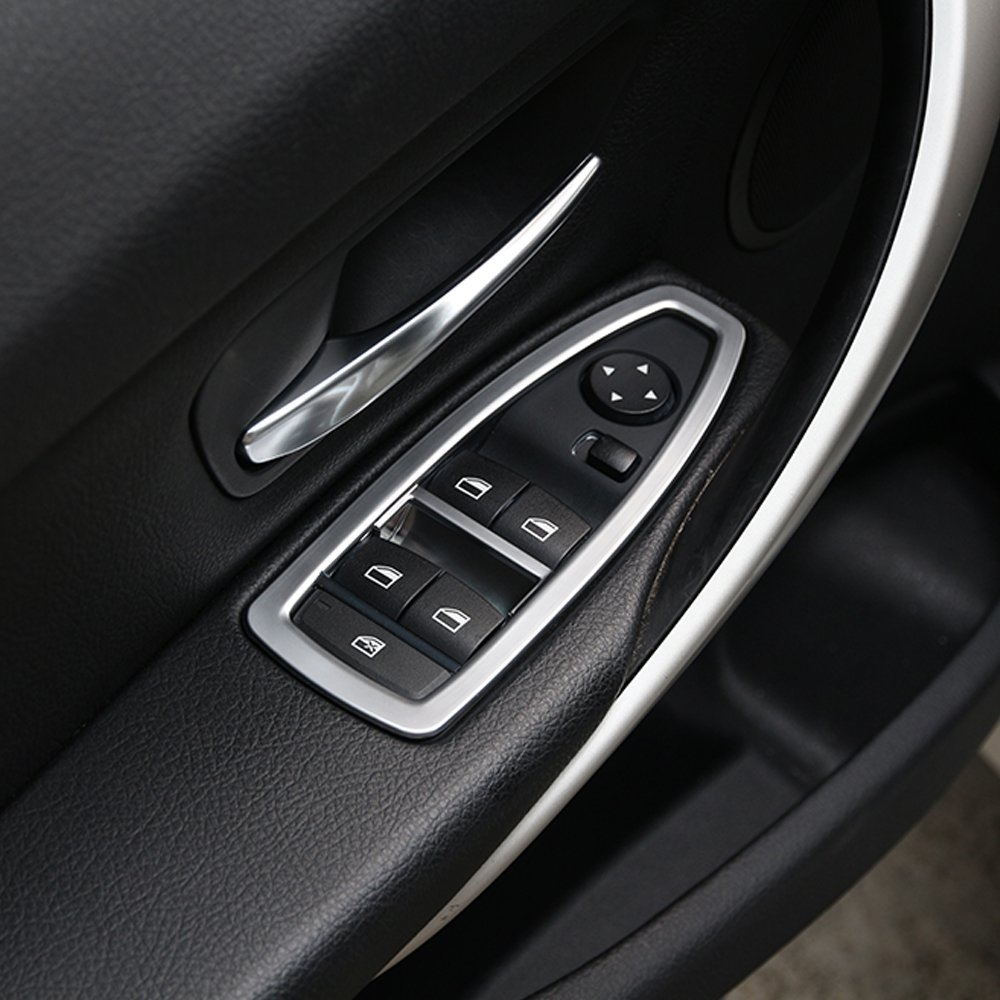 5 X Door Window Button Frame Trim Interior Accessory For 3 Series f30 316 318 320 2013-2018 Car Accessory (Matt Silver) DIYUCAR