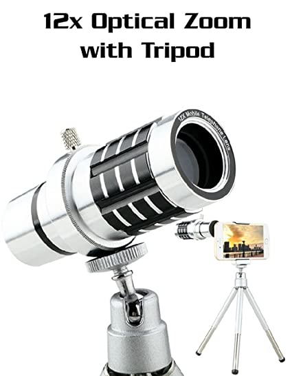 Amazon com: 12x Universal Aluminum Optical Zoom with Tripod