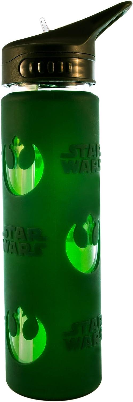 Silver Buffalo Disney Star Wars Rebel Logo Glass Water Bottle, Multicolored