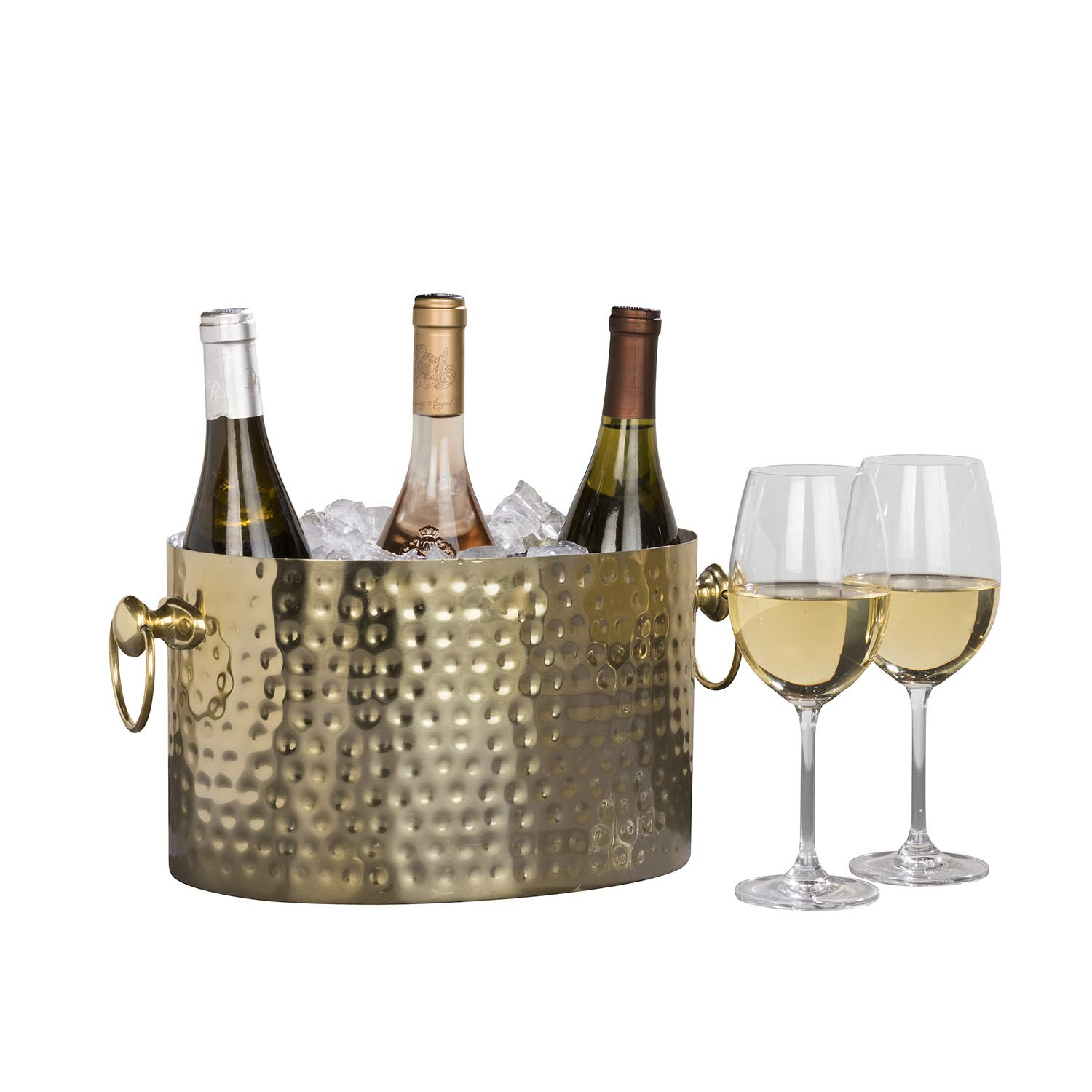 Chic Chill Handcrafted Artisan 3 bottle Champagne and Wine Chiller (Brass)