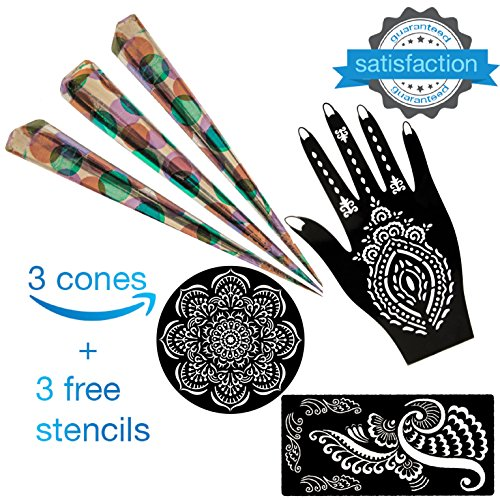 Henna Tattoo Kit Cones Ink Organic Brown Body Art Paste Temporary Tattoo Waterproof India Painting Ink Stencil Set (3pcs)