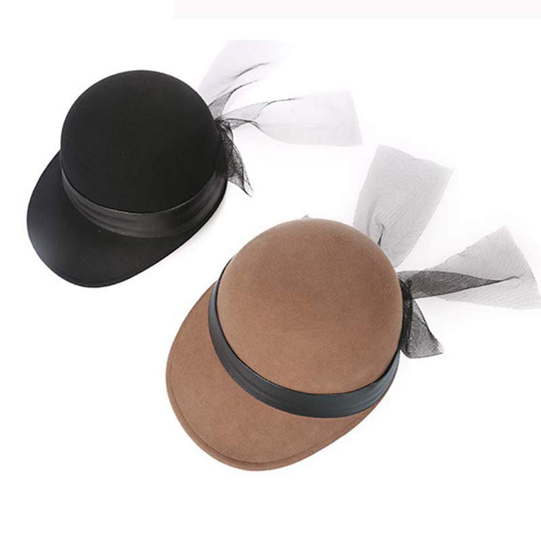 Women Winter Wool Fedora Hats Fashion Women Mesh Bow Baseball Cap Classic Wool Top Hat Casual Felt Hat