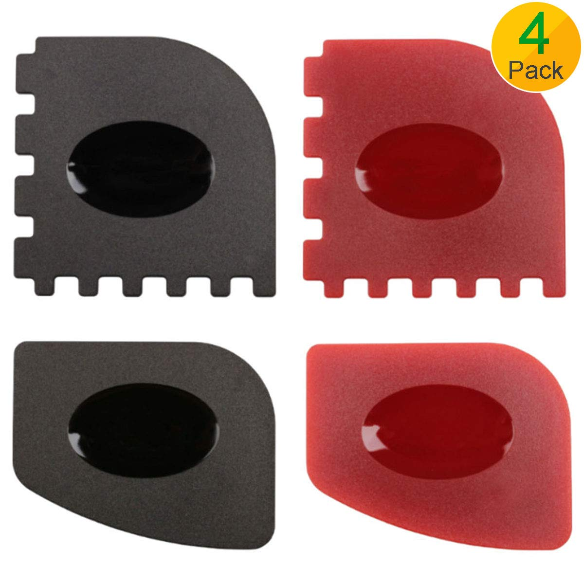Pan Scrapers, 4 Pack Durable Pan Scrapers Grill Pan Scraper Cleaner Tools for Cast Iron Pans Skillets, Cookware Baking Grill Pans (Black, Red)