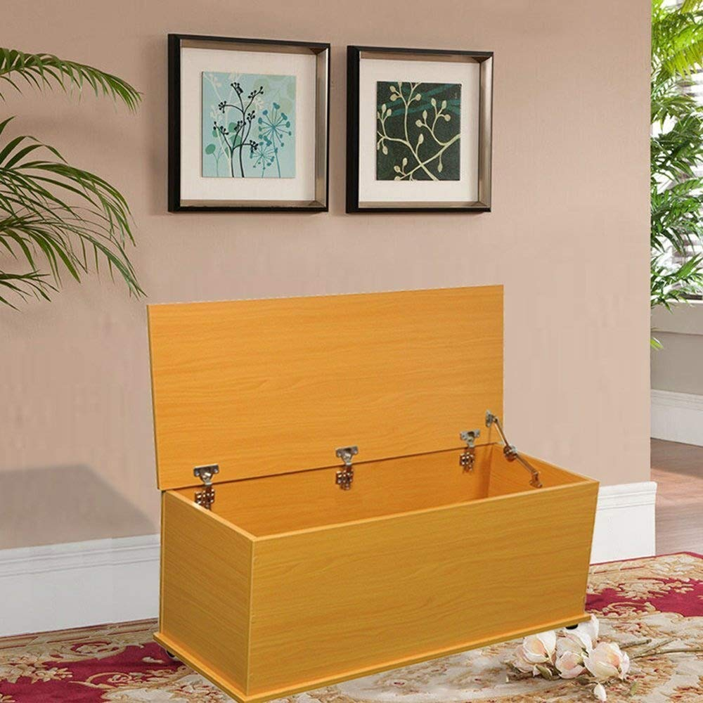 Dripex Large Wooden Storage Chest/Toy Box/Storage Box - With Lid Dropping Protective Device - Beech