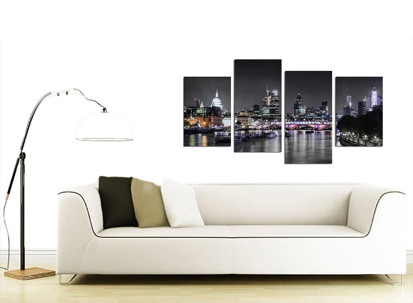 Amazon Wallfillers Canvas Wall Art Of London Skyline For Your Living Room 4 Panel Pictures 130cm X 67cm Black White Posters Prints