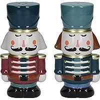 KitchenCraft De Notenkraker Collectie Kerst Zout en Peper Pots, Keramisch, Multi Colour, 2 Stuks