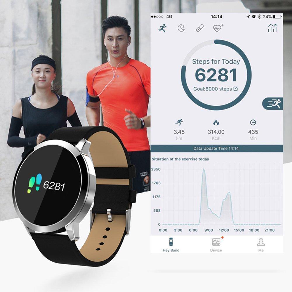 Emily OUKITEL W1 Smart Watch Reloj Deportivo a Prueba de Agua con Anti-pérdida de frecuencia cardíaca IP67 Negro Plata: Amazon.es: Hogar