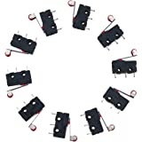 URBESTAC 250V 5A SPDT 1NO 1NC Momentary Hinge Roller Lever Micro Switches 3 Pins 10 Pcs