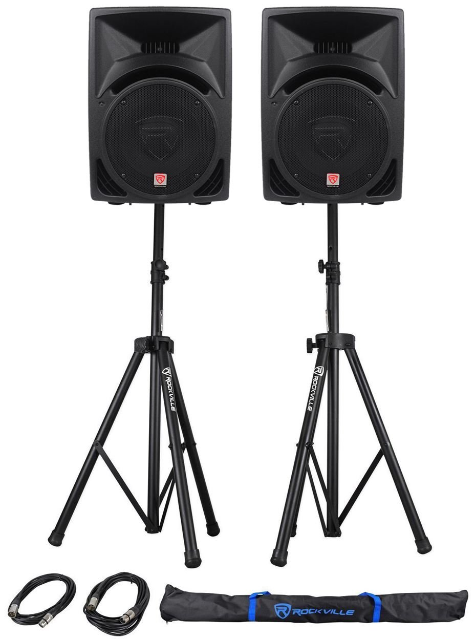 Pair Rockville RPG10 10'' 1200w Powered PA/DJ Speakers + 2 Stands + 2 Cables+Bag