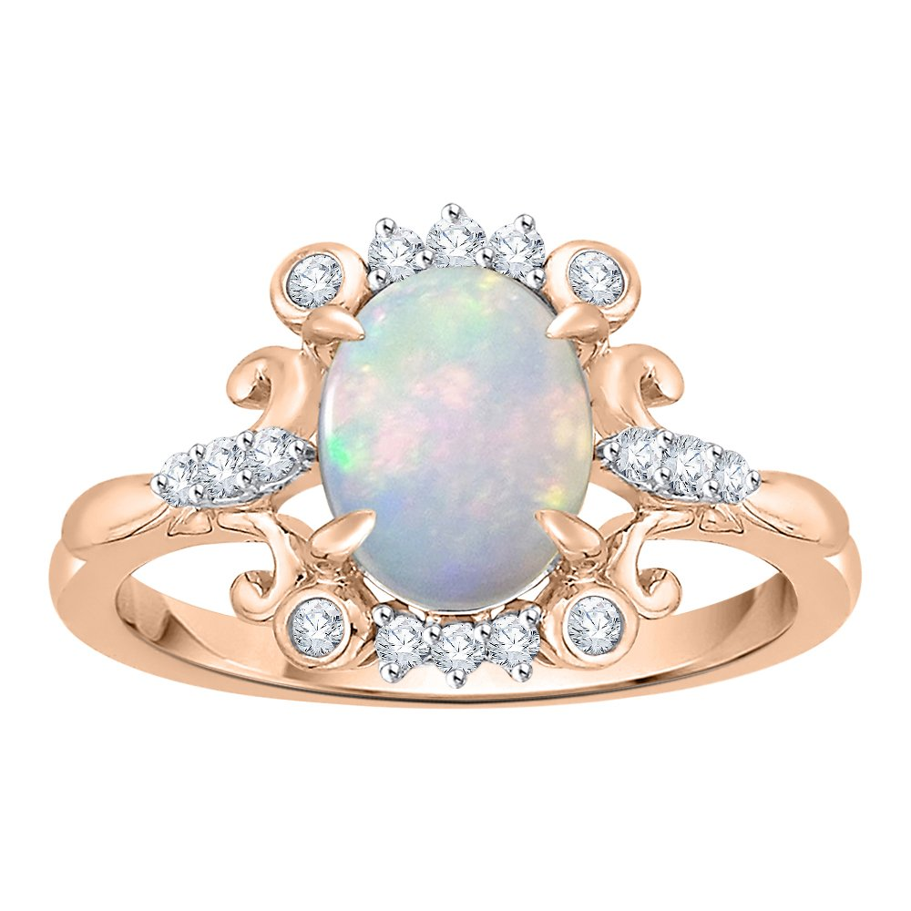 Diamond and Oval Cut Opal Fashion Ring in 10K Rose Gold (7/8 cttw) (GH Color, I2-I3 Clarity) (Size-6)