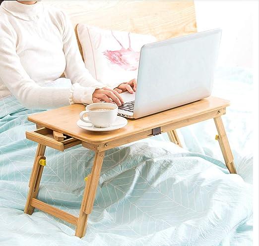 Mesa plegable portátil de madera maciza de bambú para computadora ...
