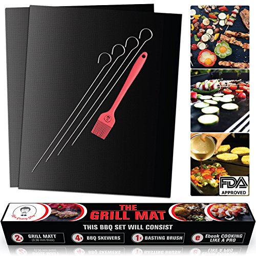 Discover Bargain Premium Quality 0.30mm Non-Stick BBQ Grill Mat FDA-APPROVED | Heavy duty reusable B...