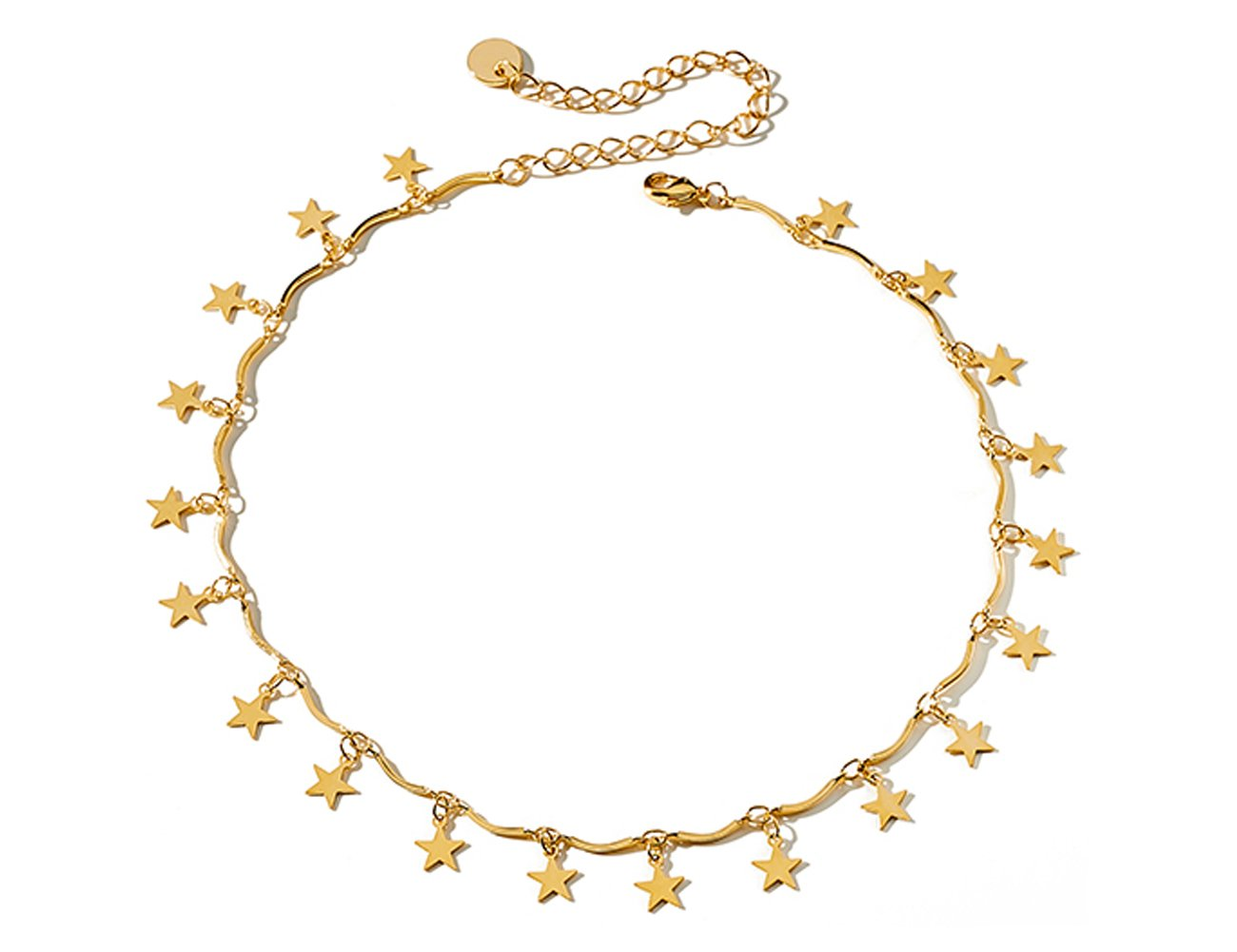 Star Choker Necklace 18K Gold Plated Disc Chain Choker Pendant Necklace for Women Girls, Disc Chain