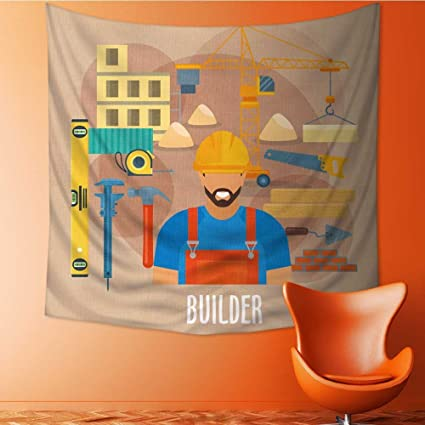 Amazon com: Muyindo Wall Tapestry Builder worker with building work