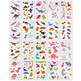 BeYumi 20 Sheets Dinosaur Temporary Tattoos & 20 Sheets Dinosaur 3D Puffy Stickers for Kids, 40 Different Designs, Great for Dinosaur Party Supplies Party Favors and Birthday Gifts