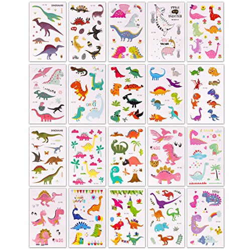BeYumi 20 Sheets Dinosaur Temporary Tattoos & 20 Sheets Dinosaur 3D Puffy Stickers for Kids, 40 Different Designs, Great for Dinosaur Party Supplies Party Favors and Birthday Gifts by BeYumi