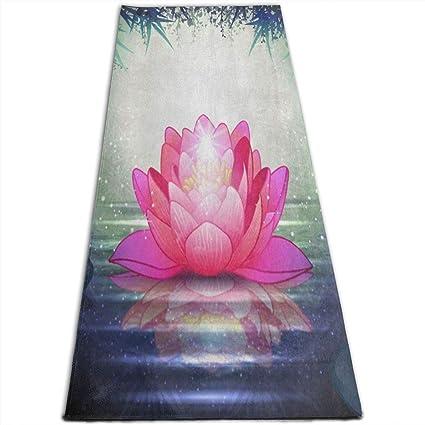 Amazoncom Zen Lotus Flower Floral Bamboo Yoga Mat All Purpose