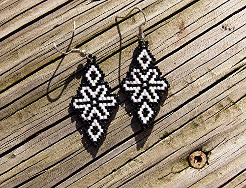 Handmade beaded earrings snowflake design