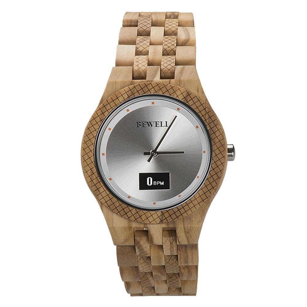 Alloet Women/Men Wood Waterproof Electronic Retro Passometer Analog Smart Watch/2