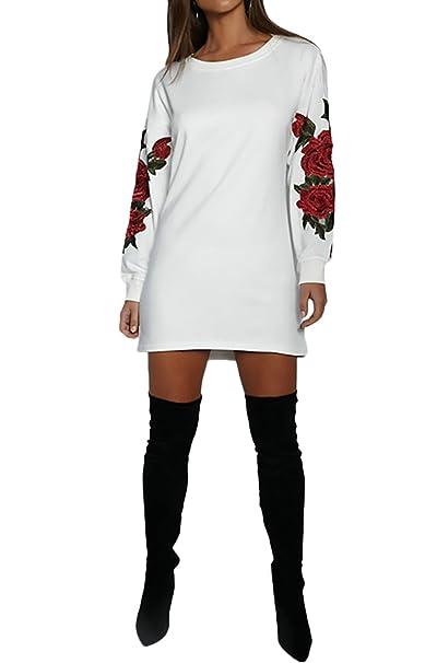 Mujer Vestidos Elegantes Cortos Casual Vintage Manga Larga Bordadas De Flores Cuello Redondo Sudaderas Vestido Invierno