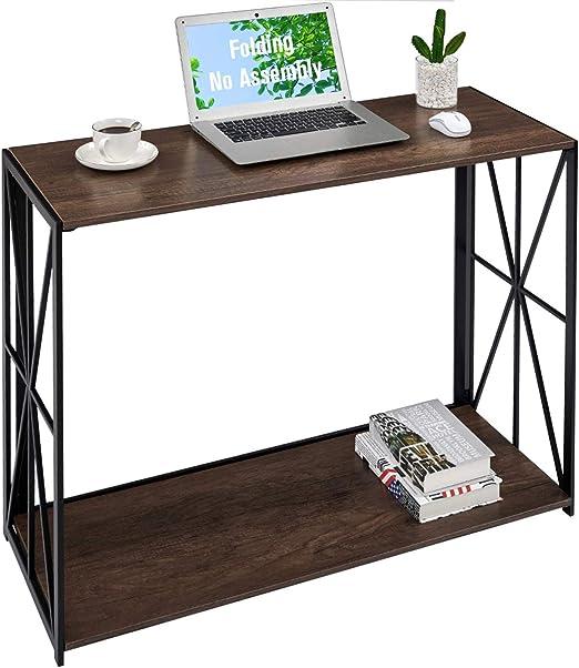 Konsolentisch Sofa Tisch, 2 Etagen, zusammenklappbar, hoher Wandtisch für Eingangsbereich, keine Montage, TV Flur Tisch mit Ablage für Wohnzimmer,