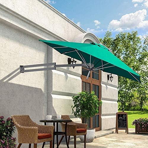 パラソルグリーンウォールマウント、メタルポール付き-屋外ガーデンパティオウォールマウントサンシェードアンブレラ、チルト調整、Ø8ft / 250cm