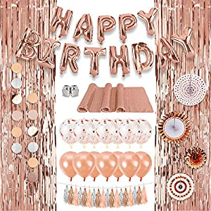 Best Epic Trends 61ipmg7lscL._SS300_ Decorlife Rose Gold Party Decorations for Birthday, Rose Gold Party Decor Kit for Girls, Total 37PCS, Including Happy…