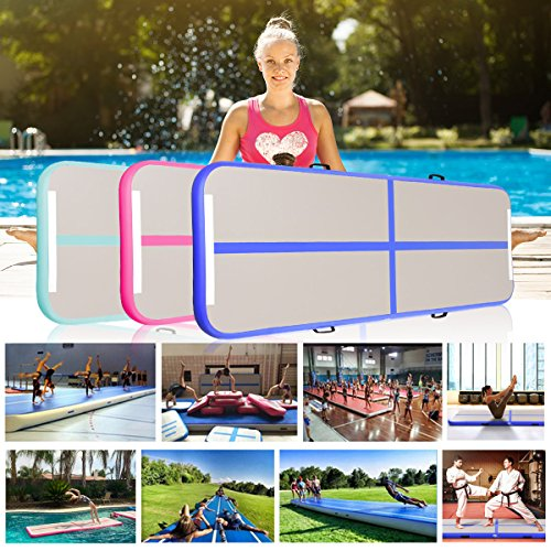 Park and Water Beach Goplus 10 x 3.3 Inflatable Gymnastic Mat Air Track Tumbling Mat with Pump Air Floor for Home Use