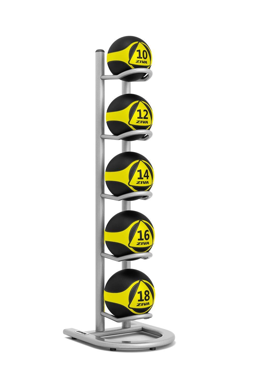 ZIVA ST 5 Multi-Ball Storage Tree for Wall, Slam, Medicine Balls – Holds 5 Balls - Platinum (Balls Sold Separately)