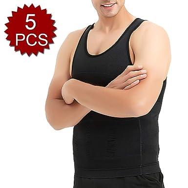875db2df40 Amazon.com  TOPTIE 5 Pack Slimming Body Shaper Compression Shirt Mens  Sculpting Vest Muscle Tank Bulk Sale  Clothing