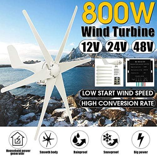 CTO 800W 12V / 24V / 48V 6 Blade-Windgenerator + Controller-Windkraftanlagen Horizontale Heimenergie Windrad Energie Turbinen Gebühr für Haus Hybrid Straßenbeleuchtung Verwenden,12V