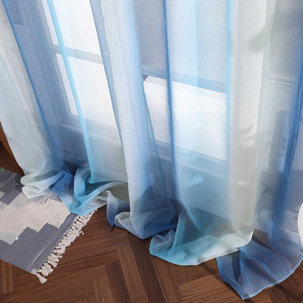 Caf/é MIULEE Lot de 2 Voilages /à Oeillet Moustiquaires en Polyester de Couleur Chang/ée Voile Rideaux de Fen/être D/écoratives pour Salon Chambre Bureau 145 X 140cm H x L Bleu