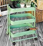 Vintage Style Green Metal Gardener's Cart