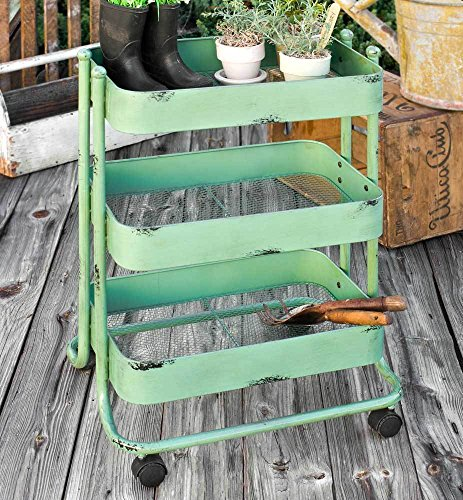 Vintage Style Green Metal Gardener's Cart by CTW