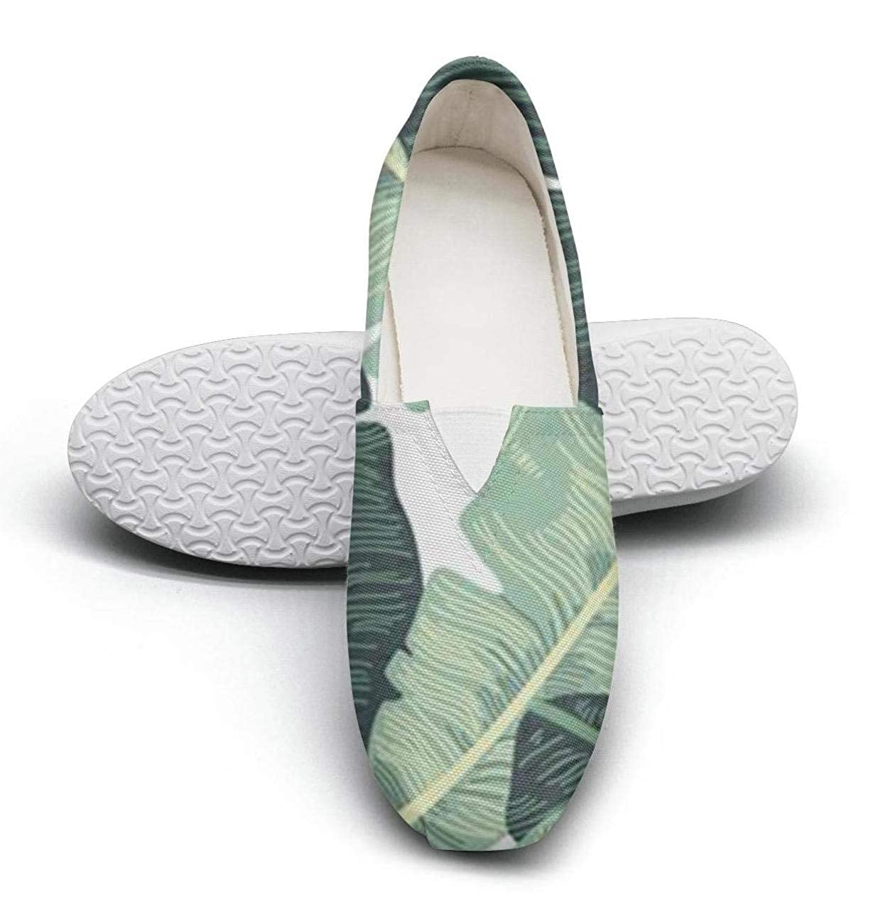 nkfbx Tropical Plant Banana Leafs Casual Flat Canva Shoes for Women Exercise