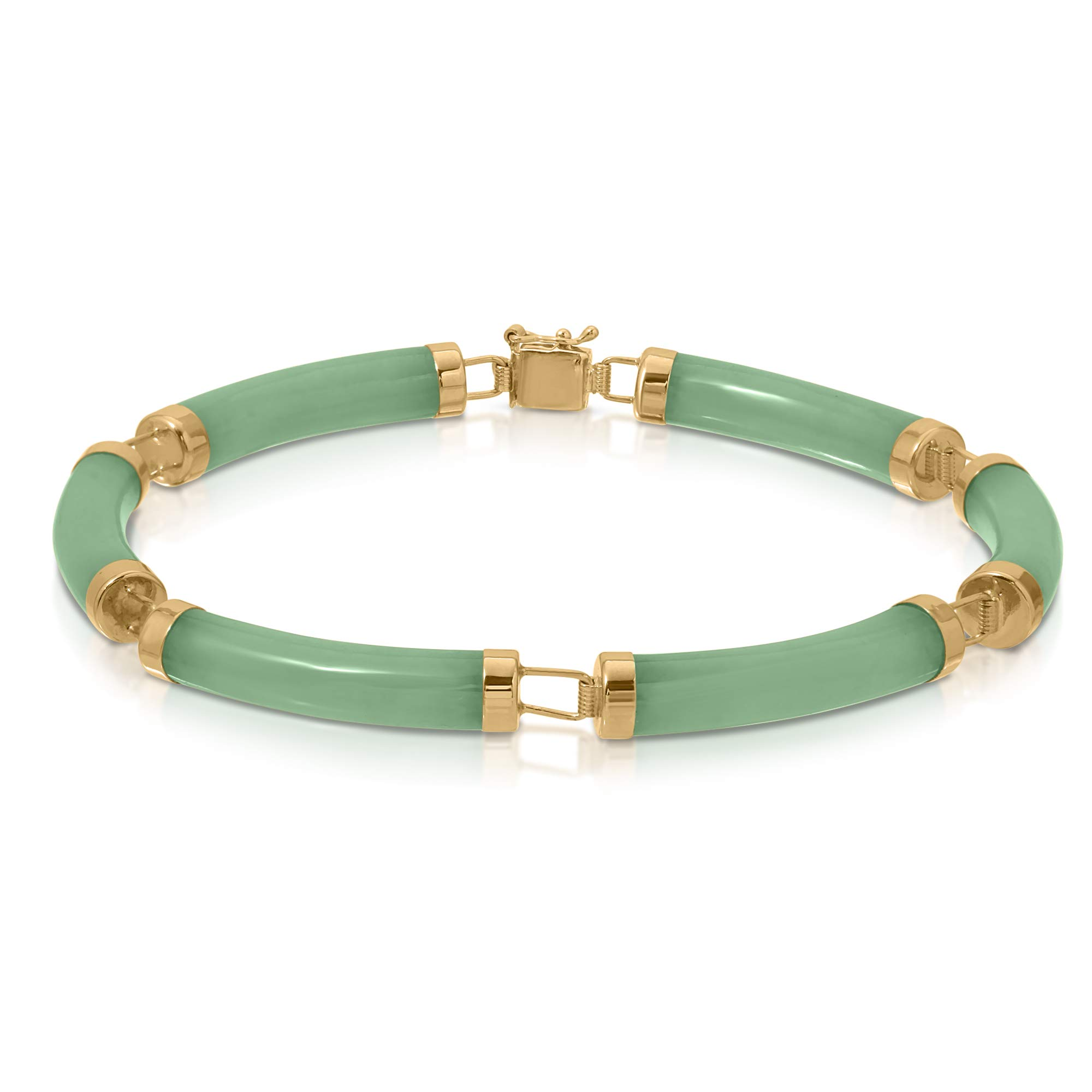 Regalia by Ulti Ramos 14K Yellow Gold Natural Jade Green Curved Link Bracelet